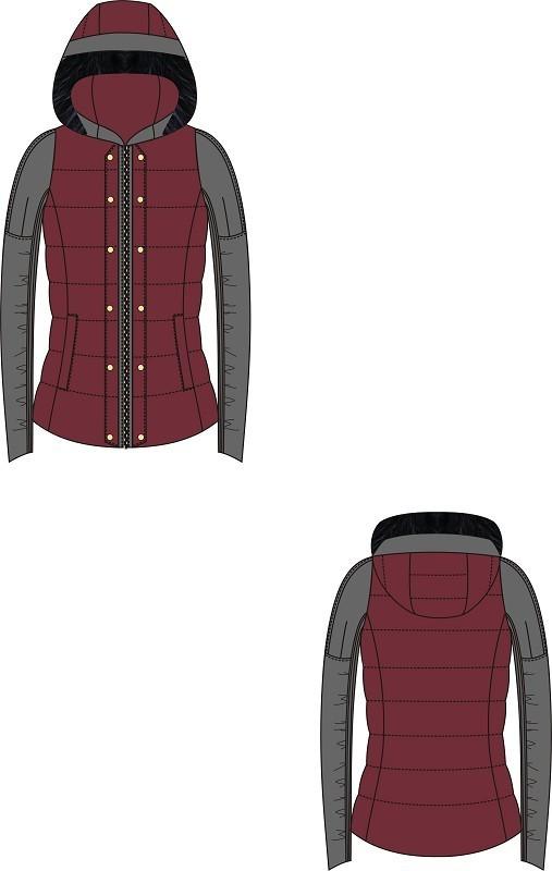 短款羽绒服设计款式图