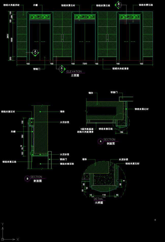 cad石材外装电梯及节点图模板下载