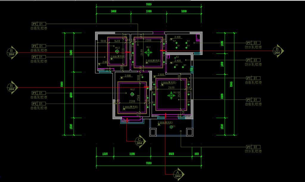 室内设计 cad图库 家装施工cad图纸 > 天花布置图  下一张&gt