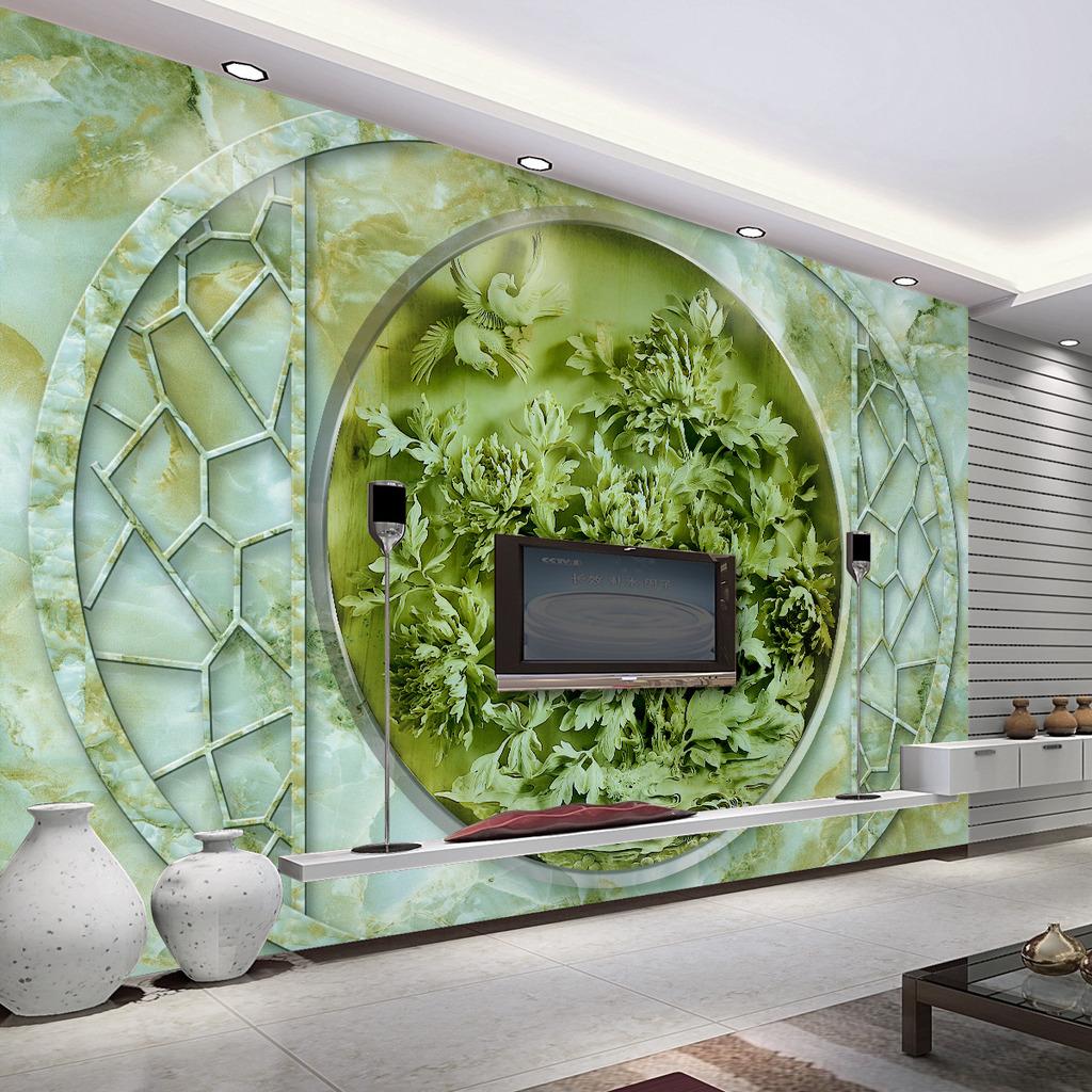 背景墙 电视 花开/[版权图片]富贵花开3D浮雕玉雕电视背景墙