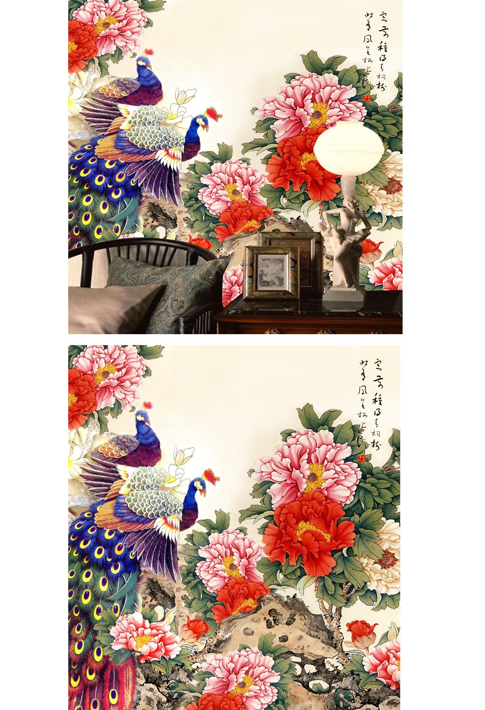 古典手绘彩色孔雀沙发背景墙模板下载(图片编号:)