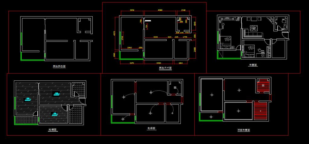 室内装修小户型cad平面布置施工图纸设计