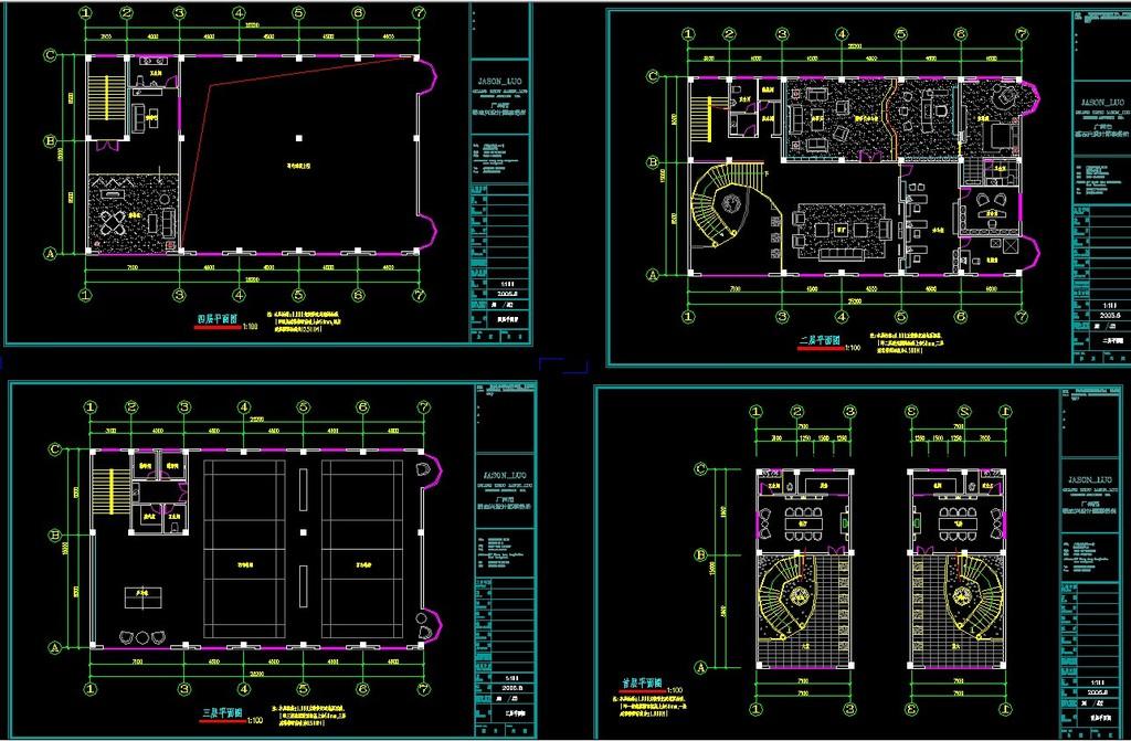 办公空间cad 平面图 顶面图