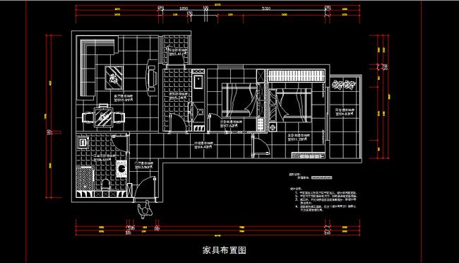室内装修小户型cad施工图纸设计图片下载家居 原始结构图 家具布置