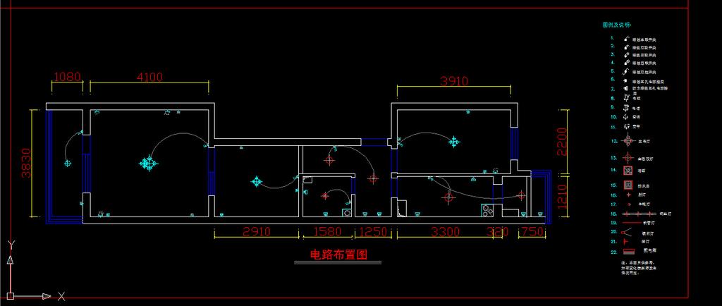 室内装修小户型cad施工图纸设计模板下载(图片编号:)