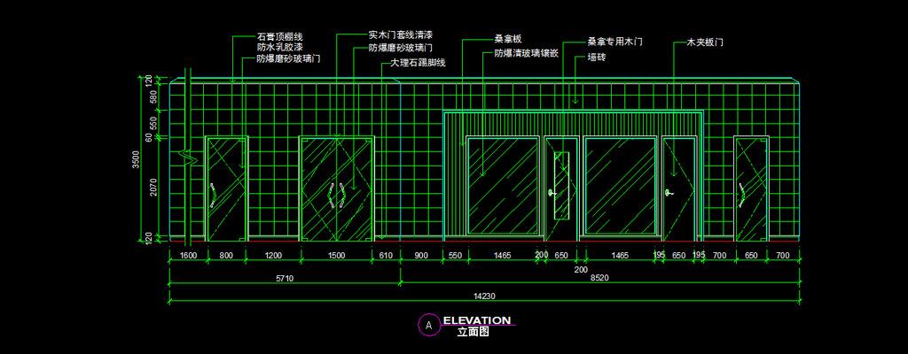 走廊cad图纸设计附带施工材质说明模板下载(图片编号