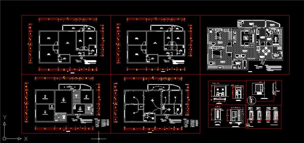 室内装修三室两厅两卫cad施工图设计模板下载(图片:)