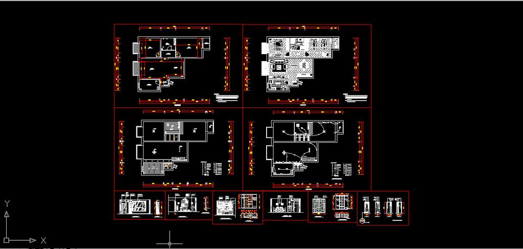 室内装修小户型cad施工图纸图片下载