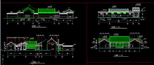 单层四合院住宅建筑平立面cad图纸设计