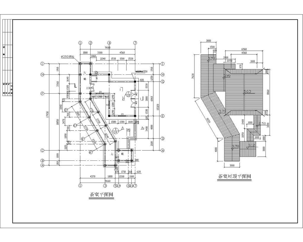 某公园茶室施工图cad图纸设计下载