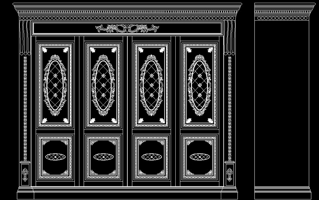 欧式雕花四门衣柜/原创设计