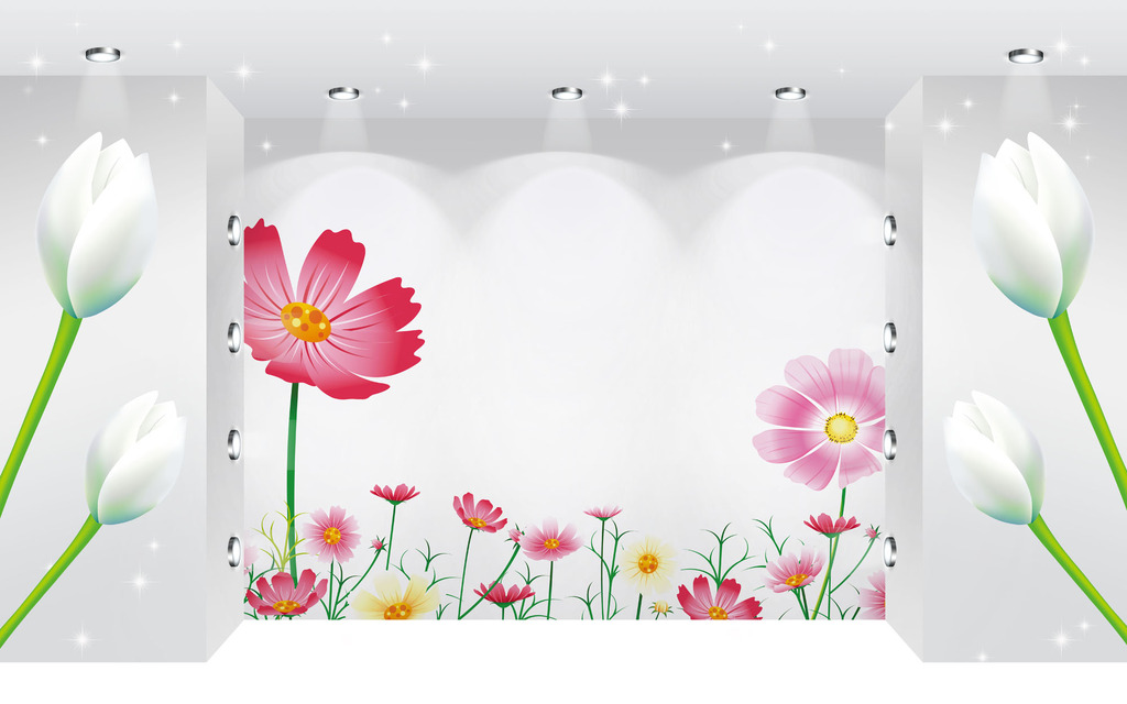 立体空间清新手绘花卉时尚背景墙