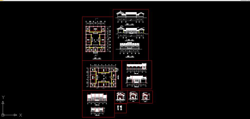 北京四合院平立剖cad建筑图设计模板下载 北京四合院平立剖cad建筑图
