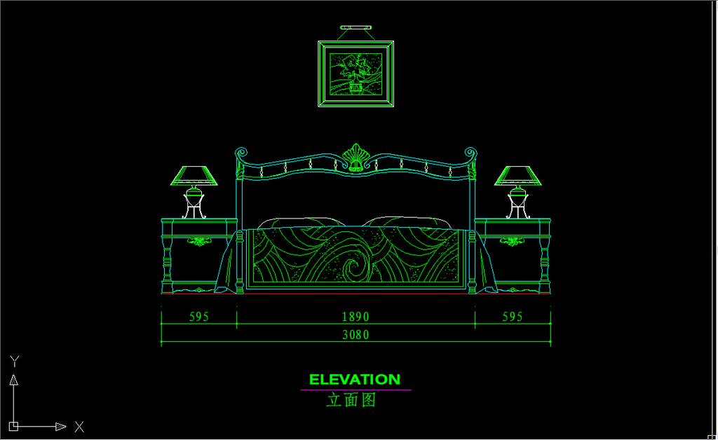 欧式床cad立面图