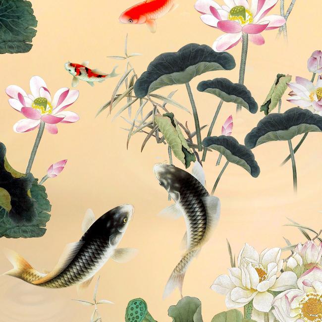 国画荷花池山水风景画图片下载荷花荷花池工笔画鲤鱼锦鲤 风景画 池塘