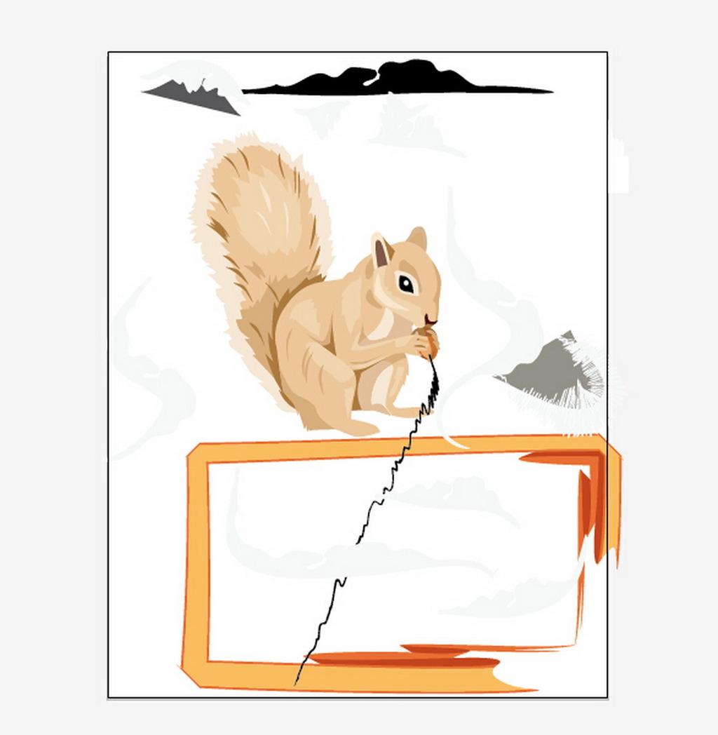 小松鼠照片墙装饰画ai格式