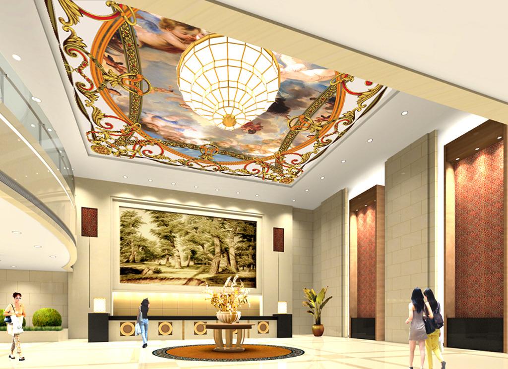 豪华吊顶壁画 宾馆吊顶壁画 客厅吊顶壁画 商场壁画 欧式天使吊顶壁画图片