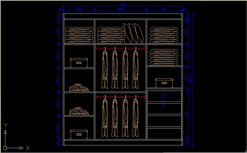 衣柜立面图cad图纸模板下载(图片编号:12198281)