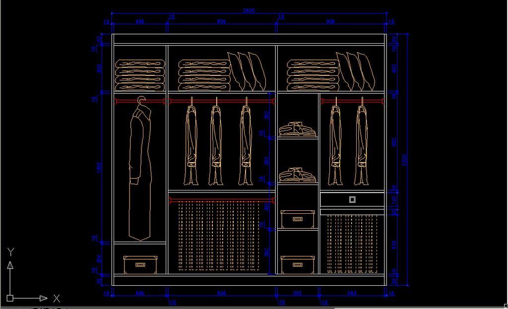 衣柜立面cad图纸下载模板下载(图片编号:12198295)