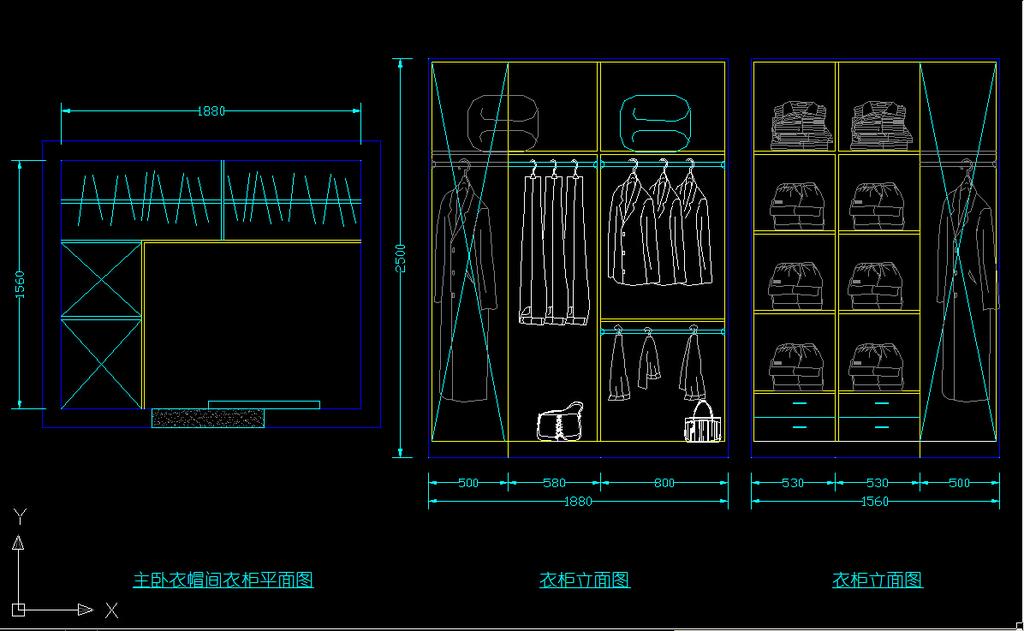 衣柜平面立面图纸设计