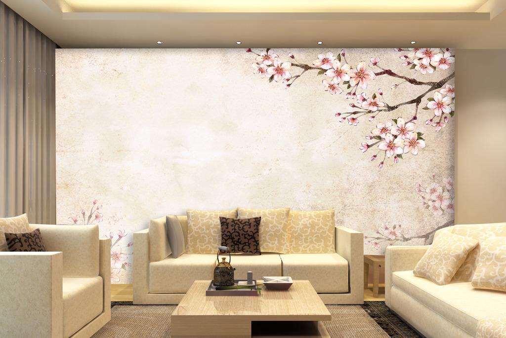 电视背景墙水墨桃花