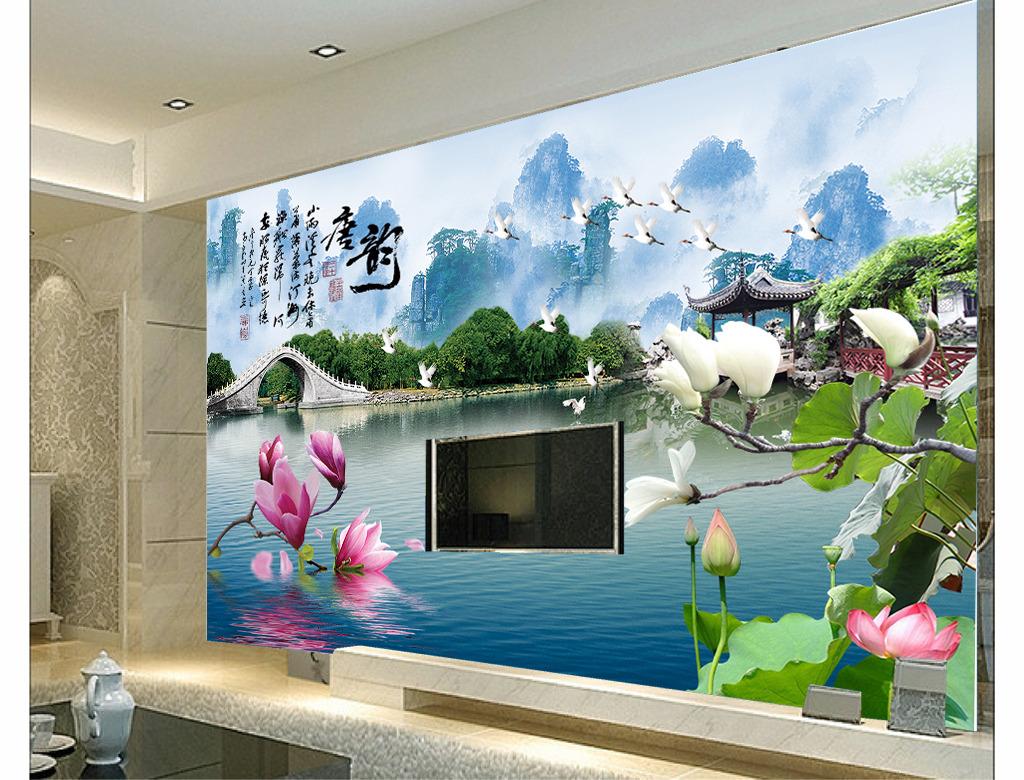 风景画电视背景墙