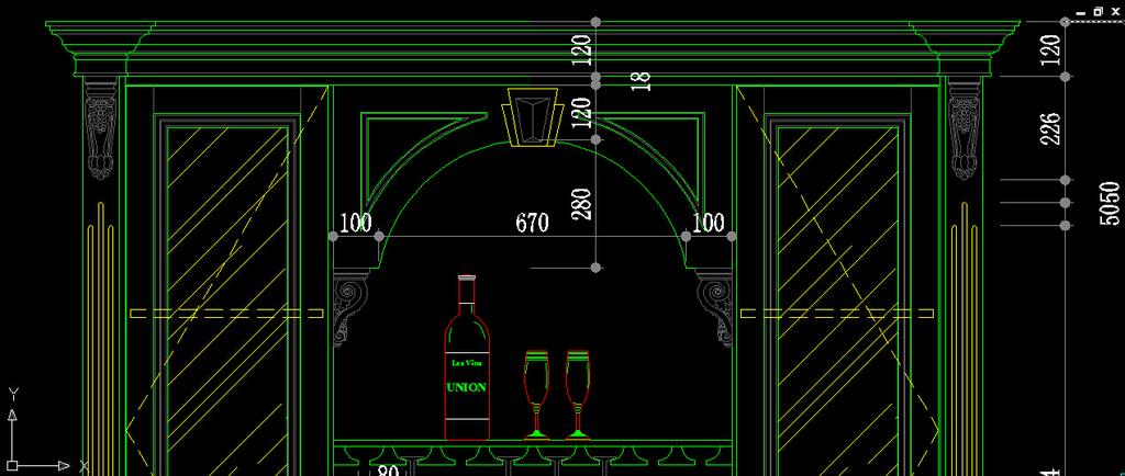 2014室内装饰木制品展厅设计酒柜图纸模板下载(图片:)