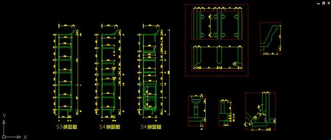 别墅室内家具设计酒柜工艺节点图dwg下载