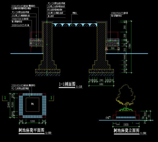 种植池cad施工图模板下载
