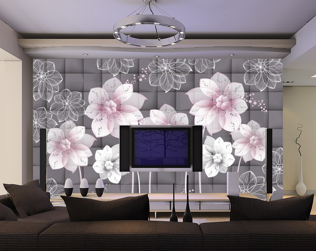 简约手绘花纹时尚背景墙