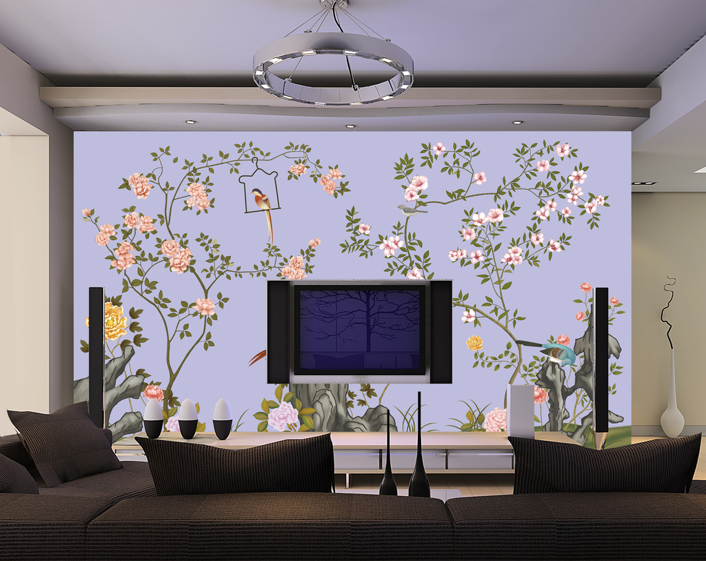 手绘花鸟图时尚背景墙