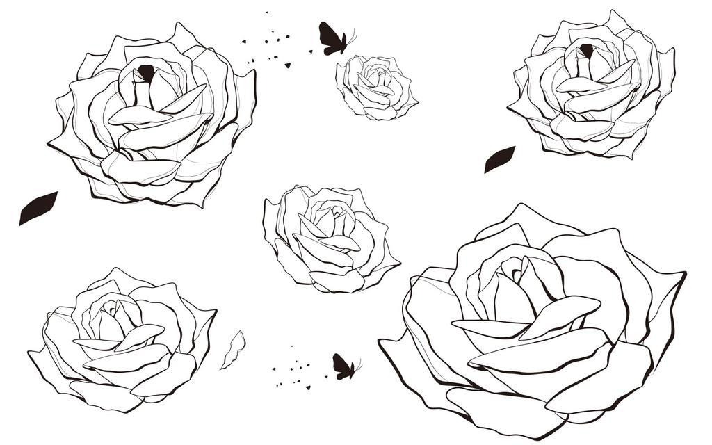 简笔手绘玫瑰 壁纸