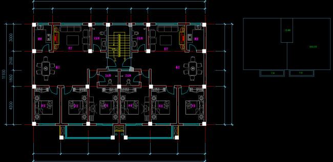 120平米 户型 平面图CAD 模板下载 12