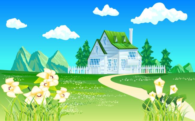 美丽风景素材模板下载 美丽风景素材图片下载 建筑房屋 蓝天白云 花草