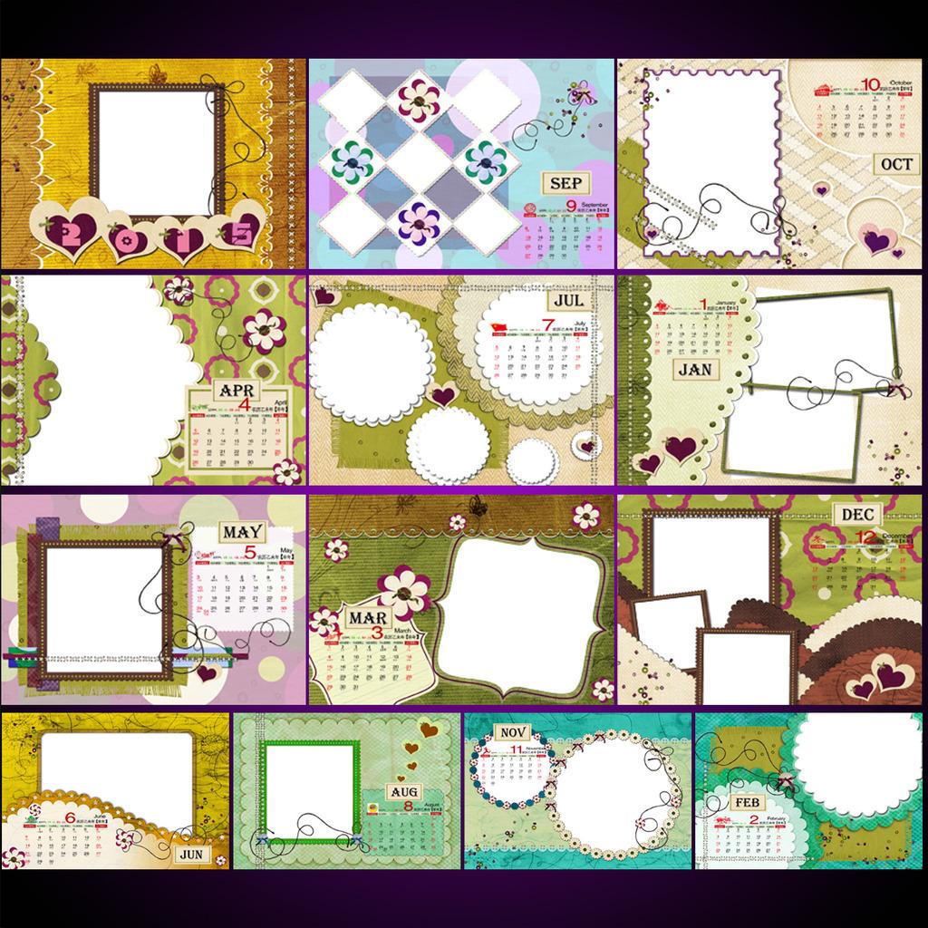 2015羊年儿童挂历可爱宝宝日历模板下载图片