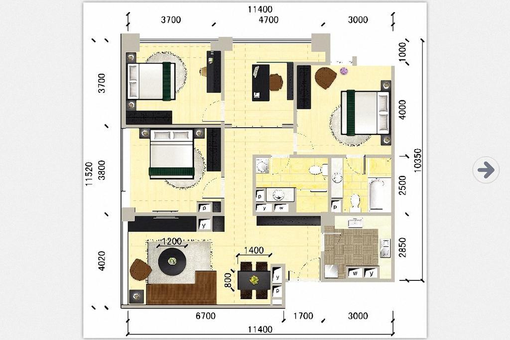 室内设计 户型图 三居室 > 三室二厅双卫高清户型图  下一张&gt