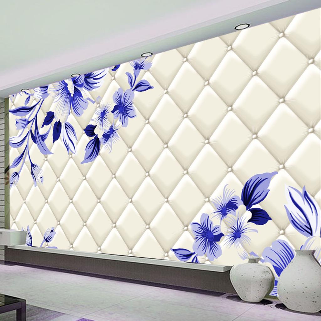 淡雅手绘花朵客厅3d软包电视背景墙