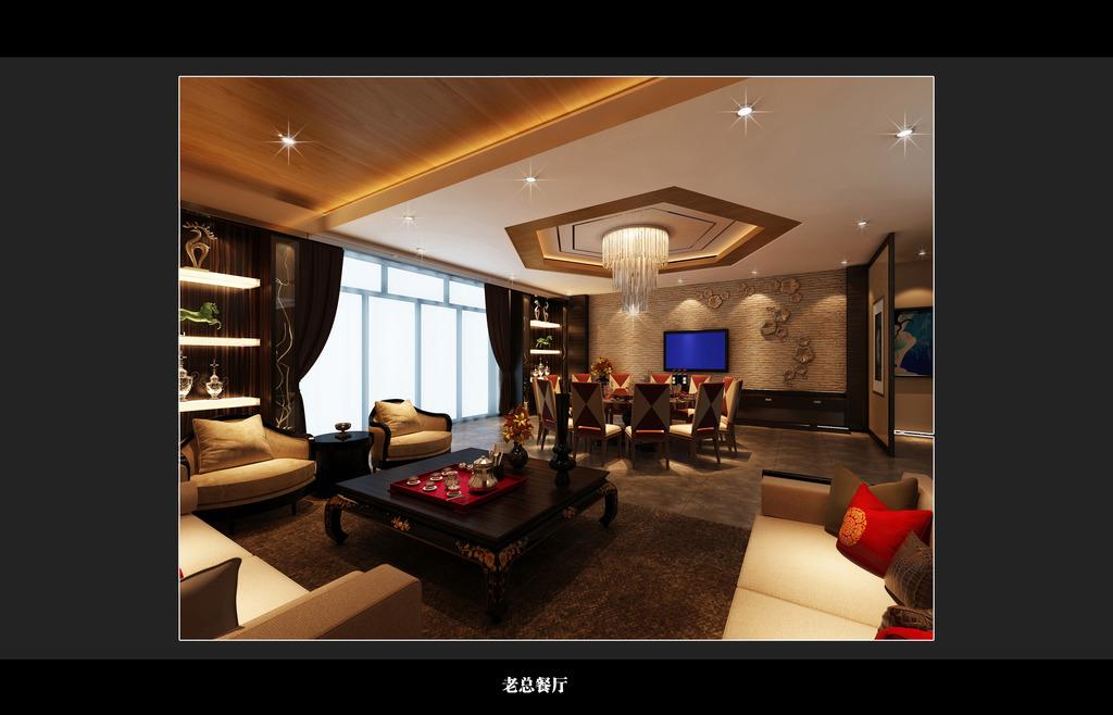 中式六角形天华设计 中式电视背景墙 藏灯书柜 窗帘沙发 中式茶几图片