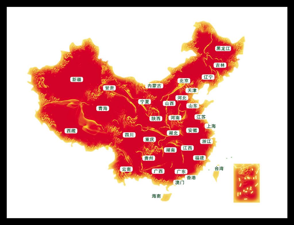 红色中国地图模板下载(图片编号:12207335)_中国地图