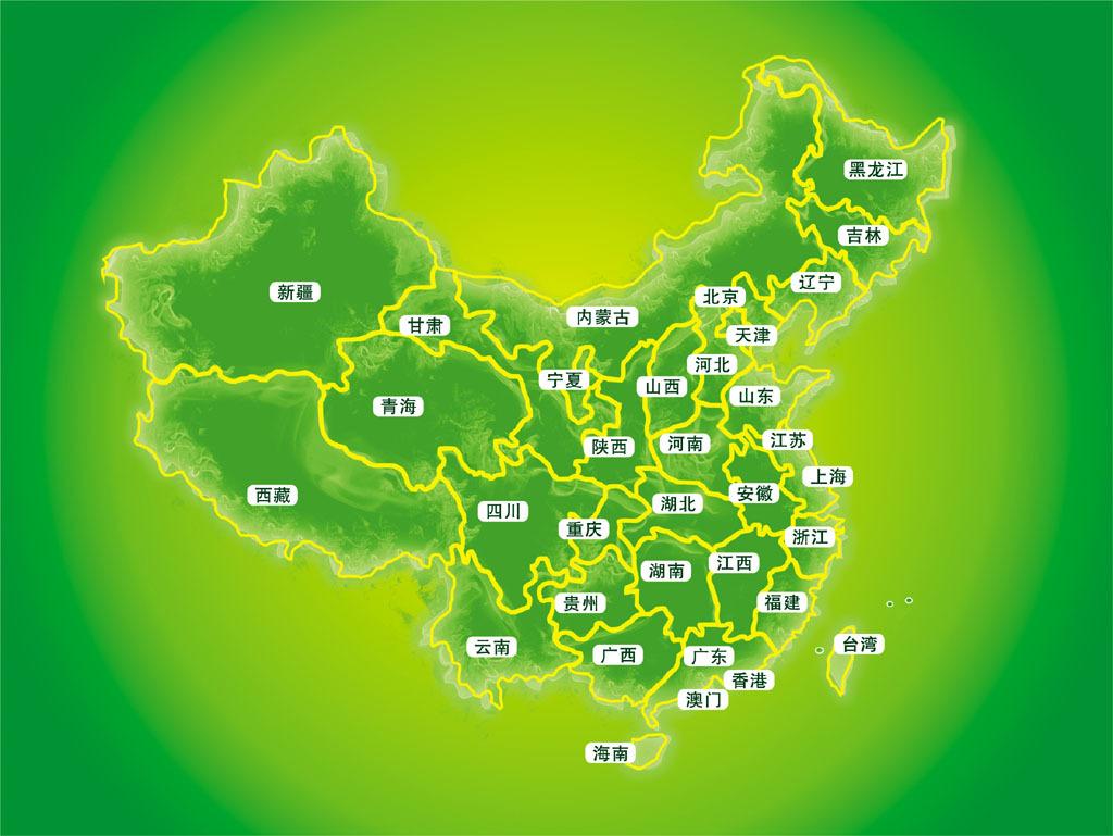 绿色高清中国地图