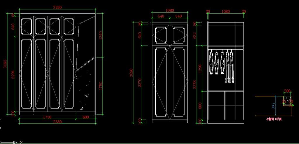 设计图分享 设计图纸手绘 > 板式衣柜设计图纸模板下载