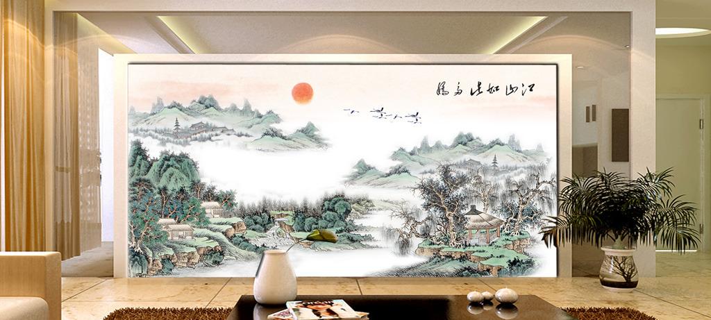 国画山水风景画高山流水旭日东升客厅壁画