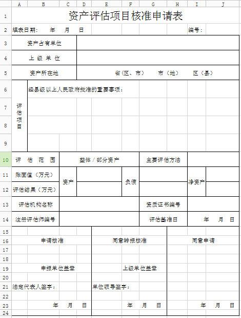 资产评估项目核准申请表图片