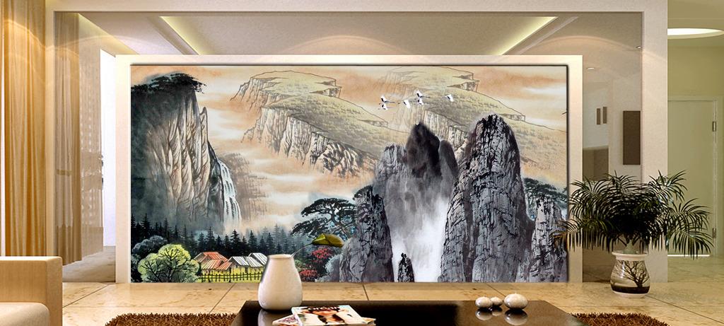 客厅 山水/国画山水水墨画山水风景画客厅画壁画