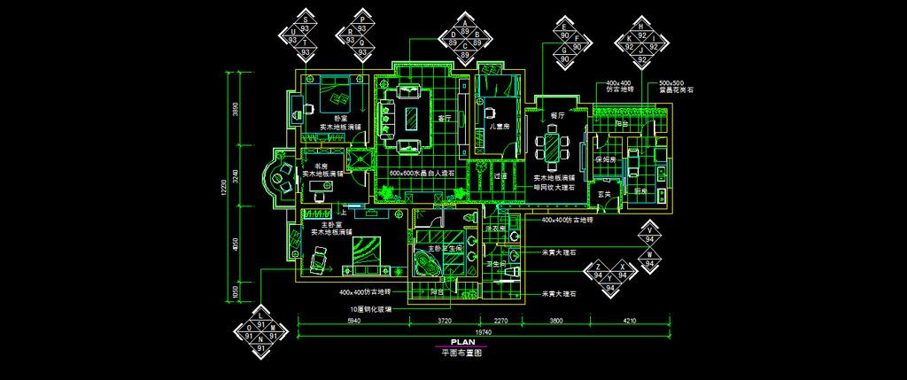家装平面cad图纸设计附材质说明