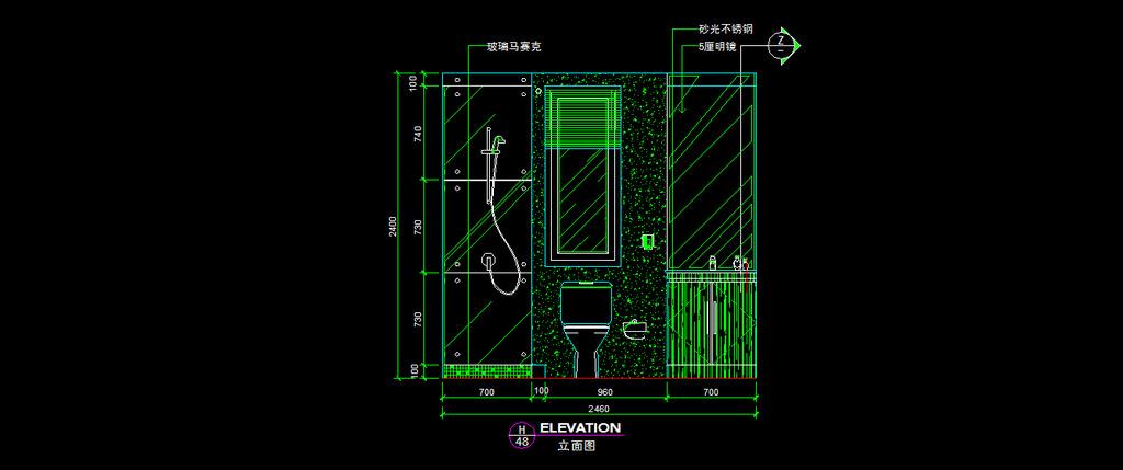 卫生间立面图纸 卫生间立面图