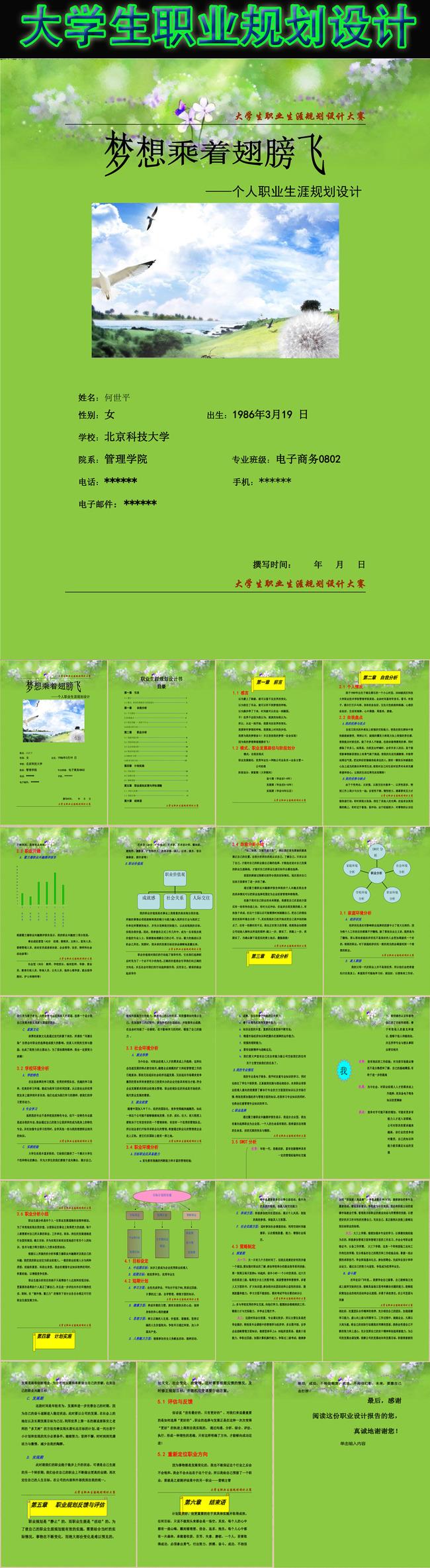 word模板 应用文书 > 大学生职业生涯规划设计大赛