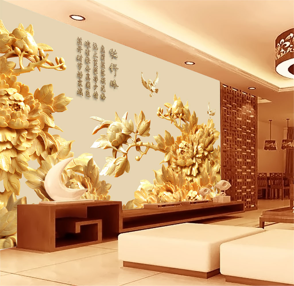 牡丹吟富贵牡丹木雕浮雕古典背景墙