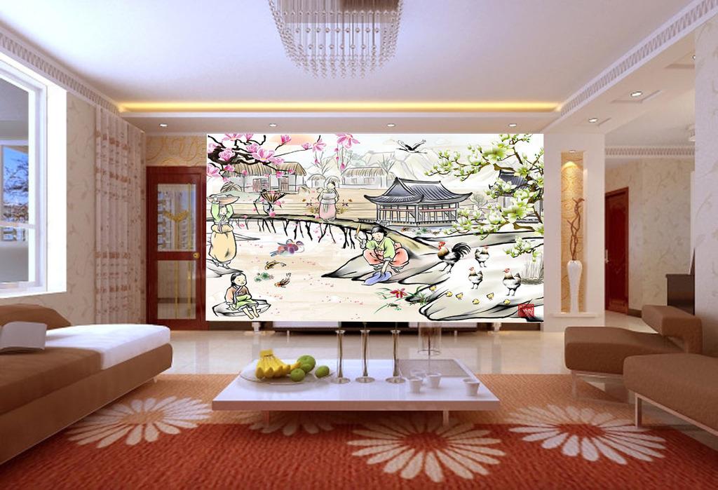 背景墙/背景墙山水风景画电视背景墙水墨画模板下载