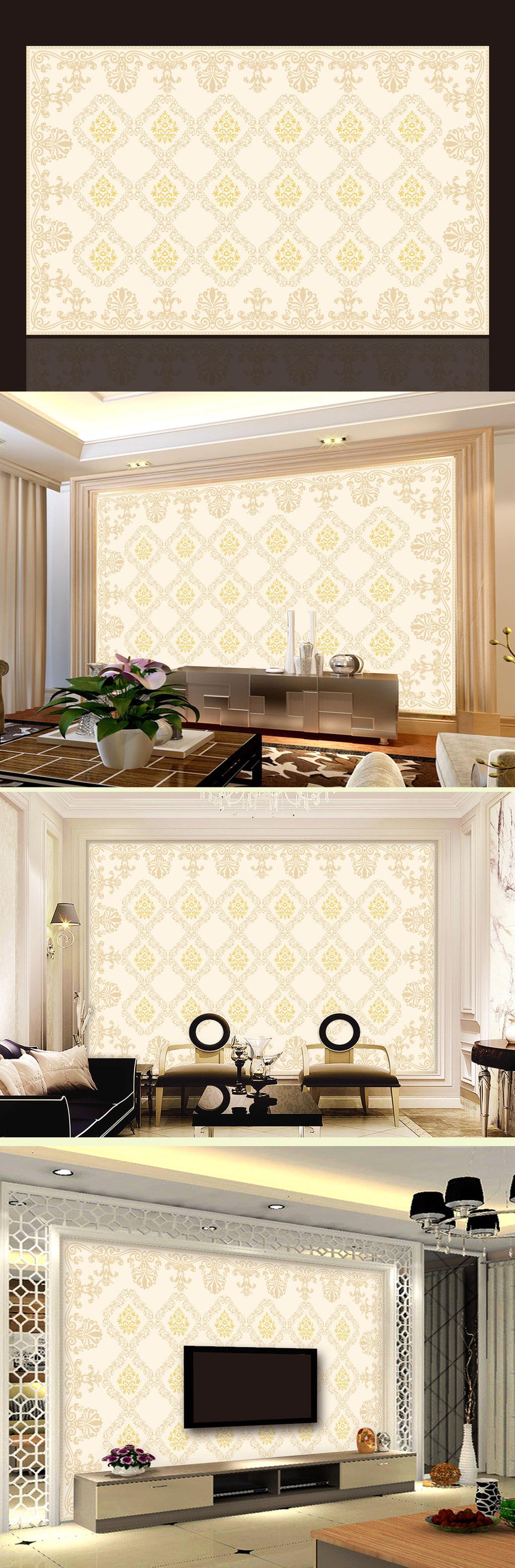 欧式花纹底纹壁画电视背景墙